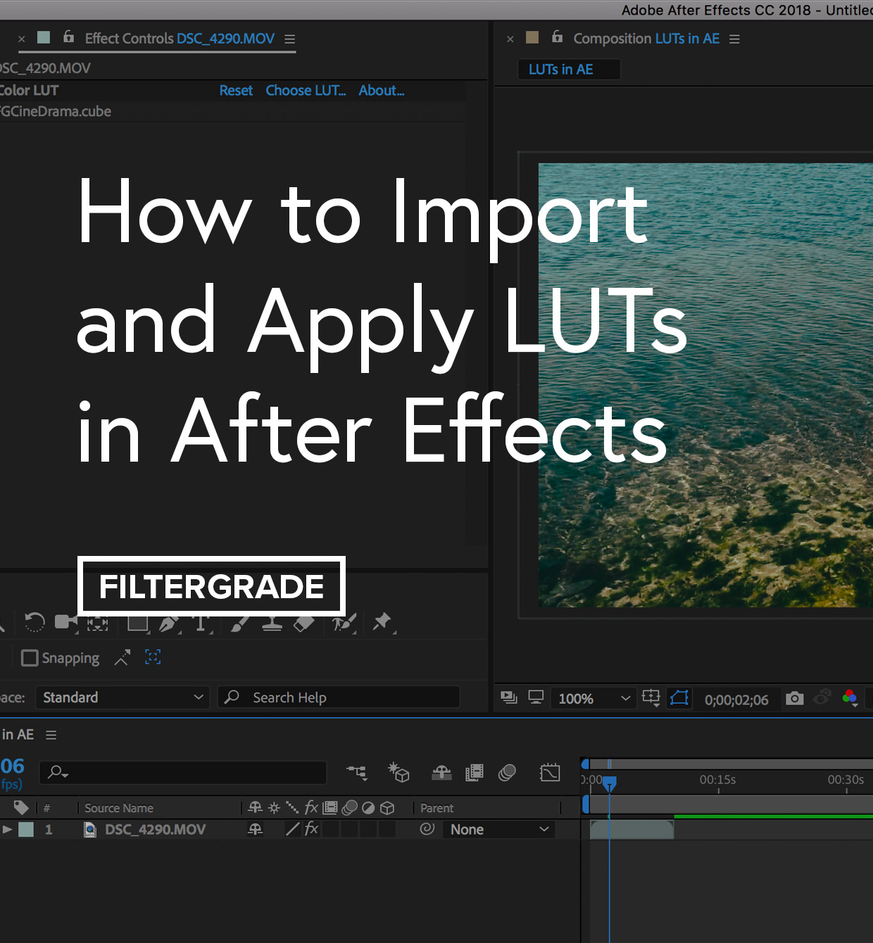 A step-by-step tutorial on how to import and apply LUTs in After Effects.