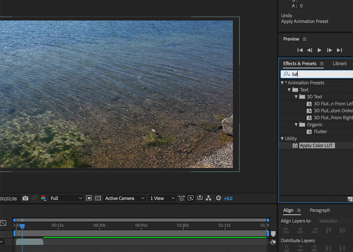 lut utility after effects