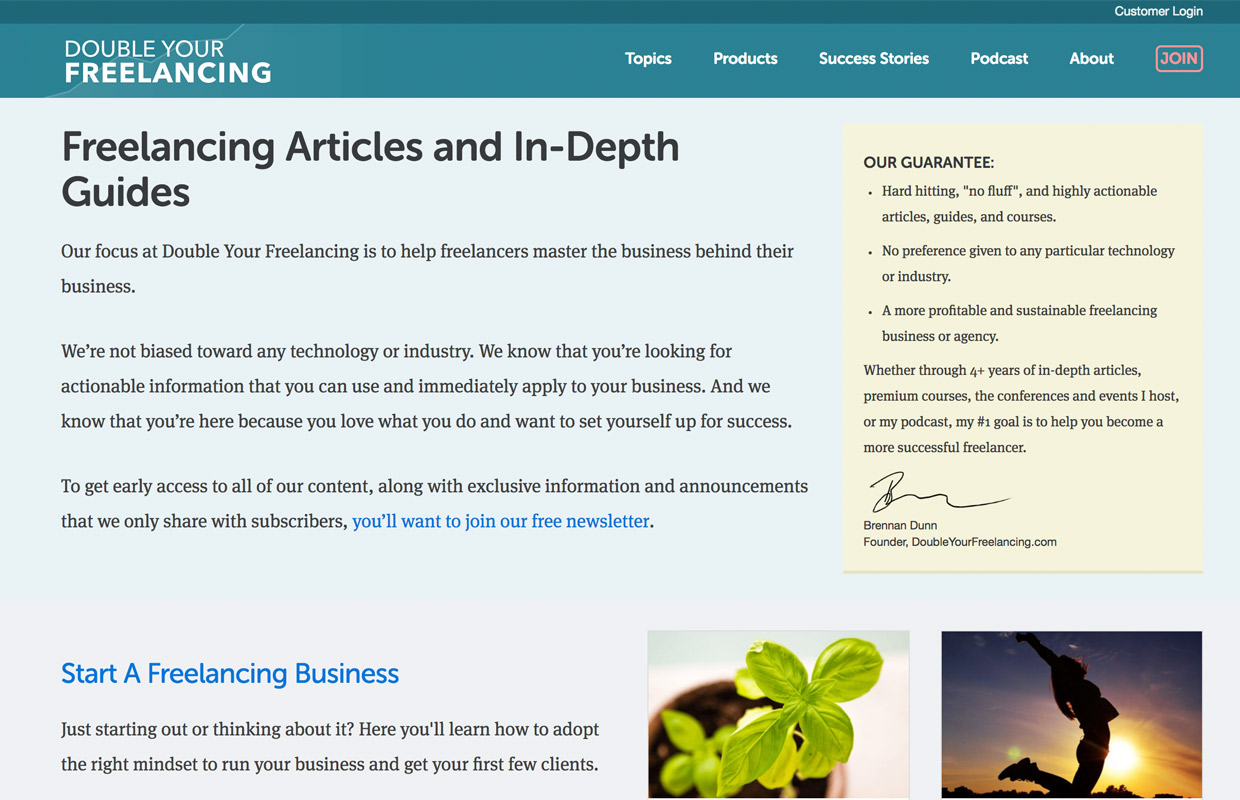 double your freelancing blog from brendan dunn