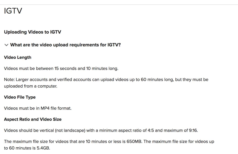 IGTV Video Upload Guidelines