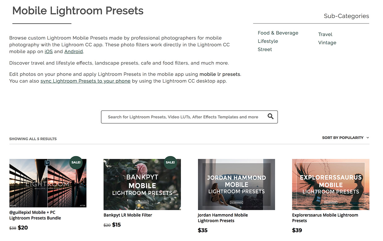 lightroom mobile presets products