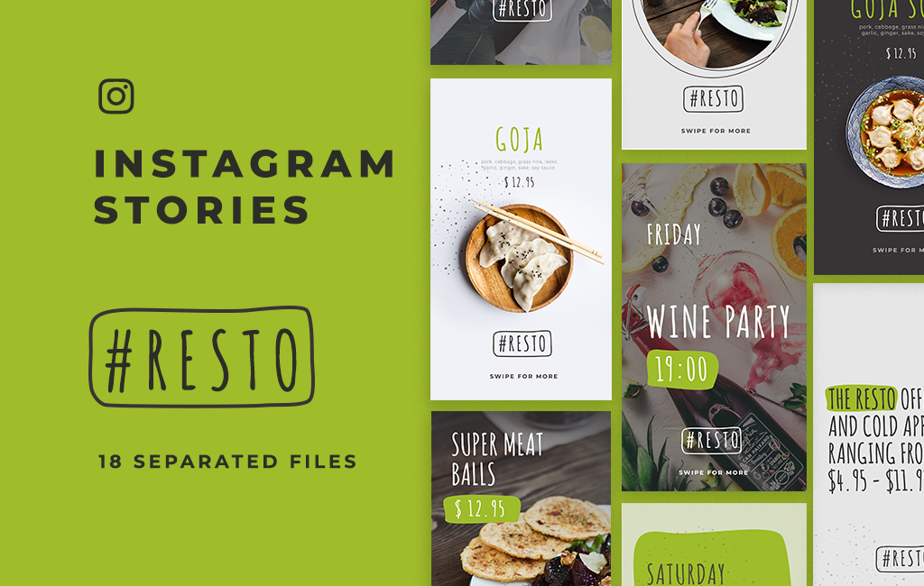 resto free instagram stories template