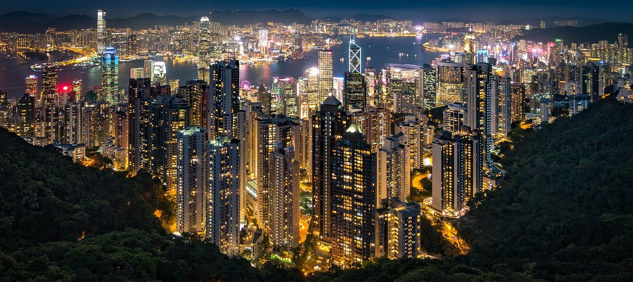 hong kong evening cityscape panorama