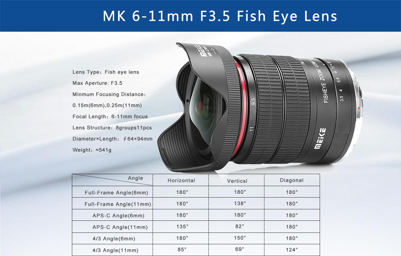 meike 6-11mm fisheye lens specs