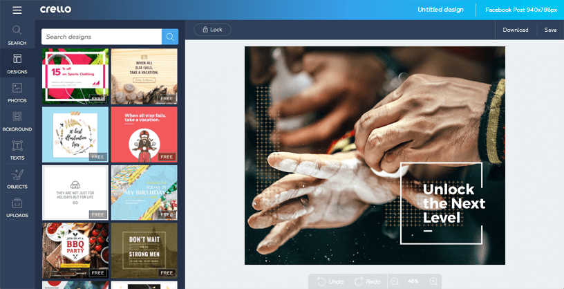 crello social media graphic design online tool