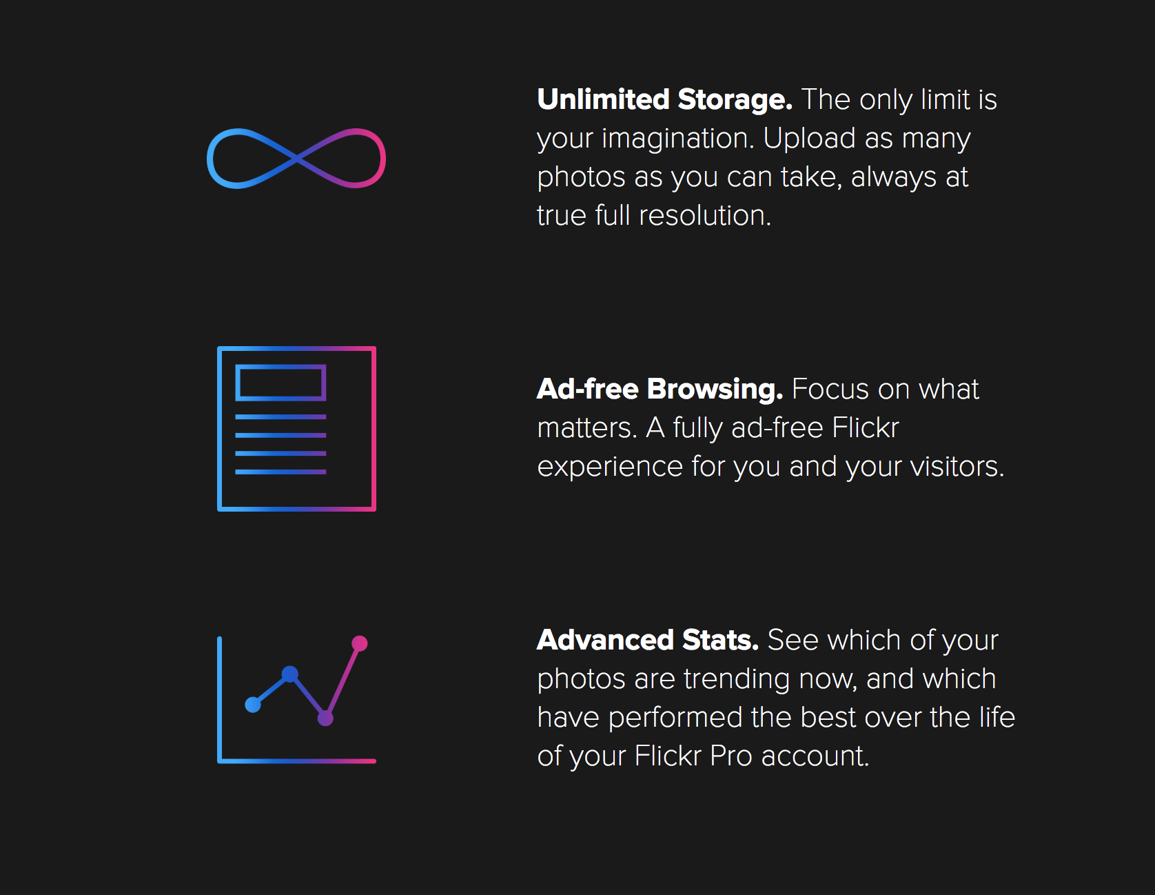 Flickr Pro features