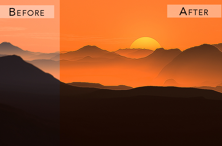 sunset photography effect