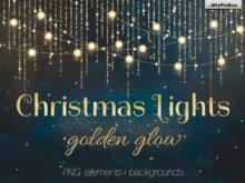 christmas lights golden glow photo overlays