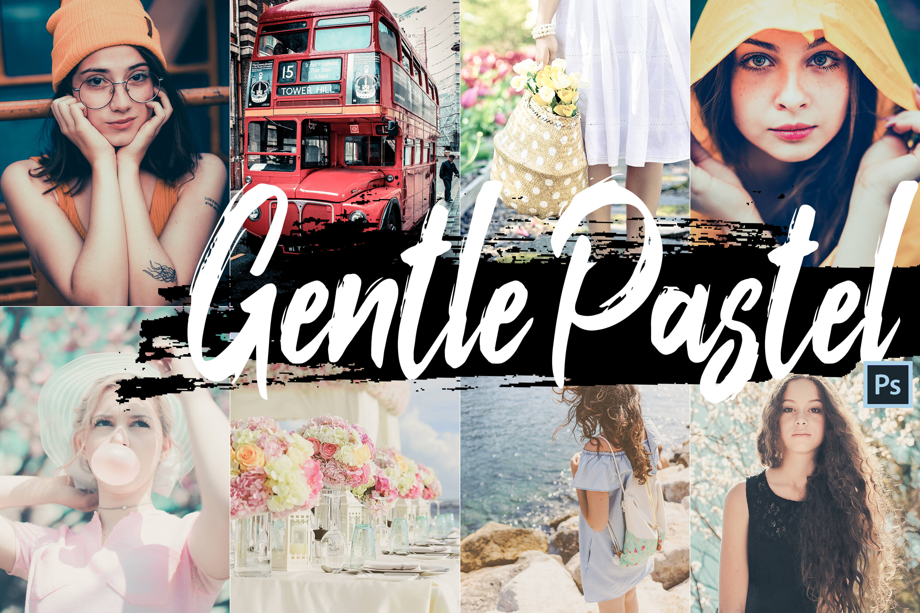 Gentle Pastel PS Actions & LUTs Bundle