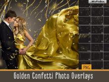 Golden Confetti Photo Overlays