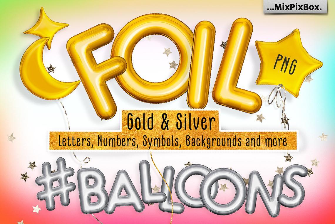 Golden Foil Balloons Alphabet Overlays