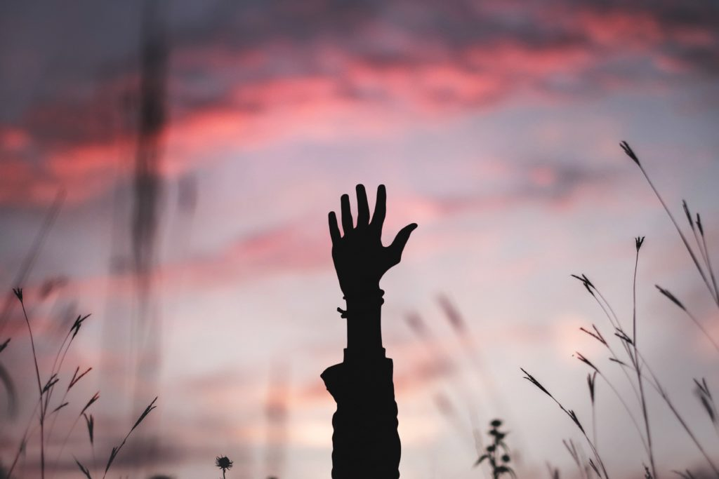 person raising hand in field
