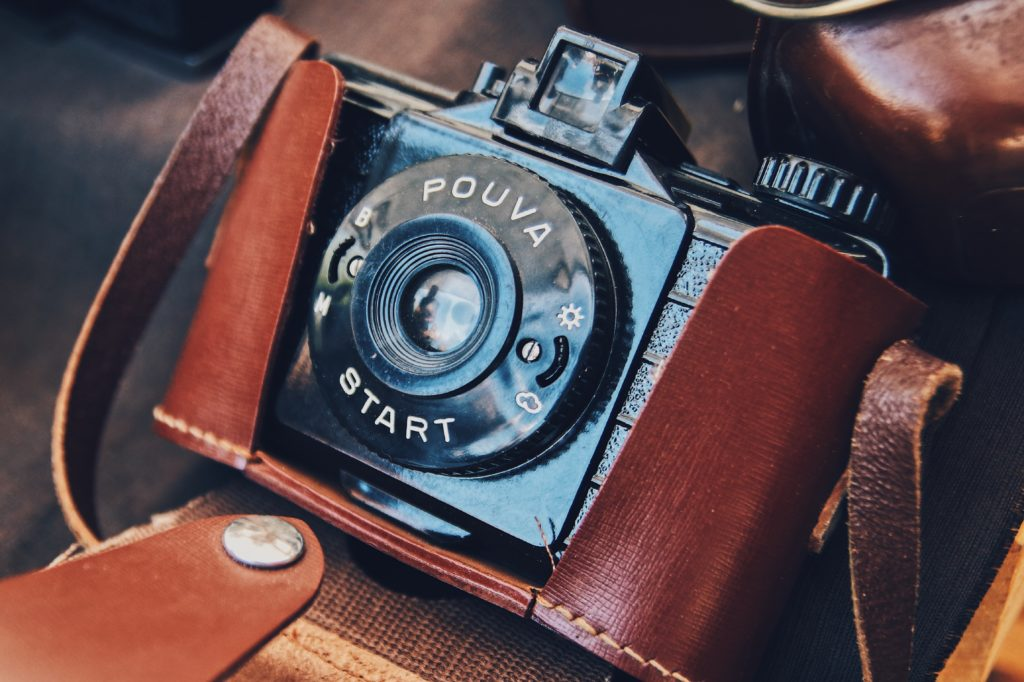 vintage camera wrapped in leather photography equipment on ebay