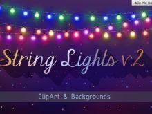String Lights v.2 Clip Art + Backgrounds