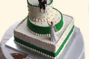 Emoticakes Wedding Cake Green Ribbon