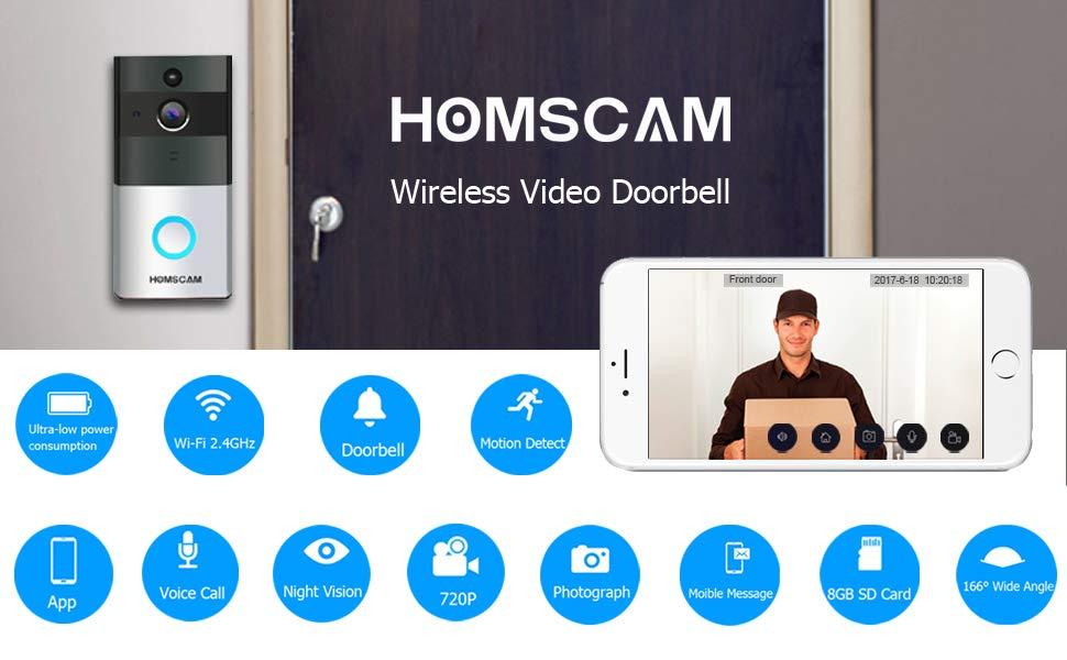 Homscam wireless video doorbell