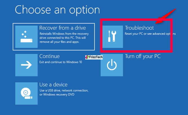 Use the recovery USB drive for resetting Windows 10 to the earlier stage1