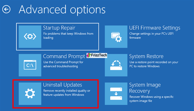 USB drive to go back to the previous version of Windows 10 step1