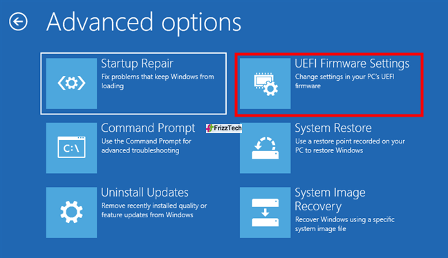 Windows 10 USB recovery drive to access BIOS or UEFI