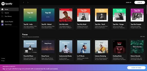 Spotify web player on Mac