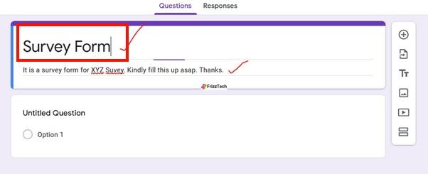 Google Forms screen survey