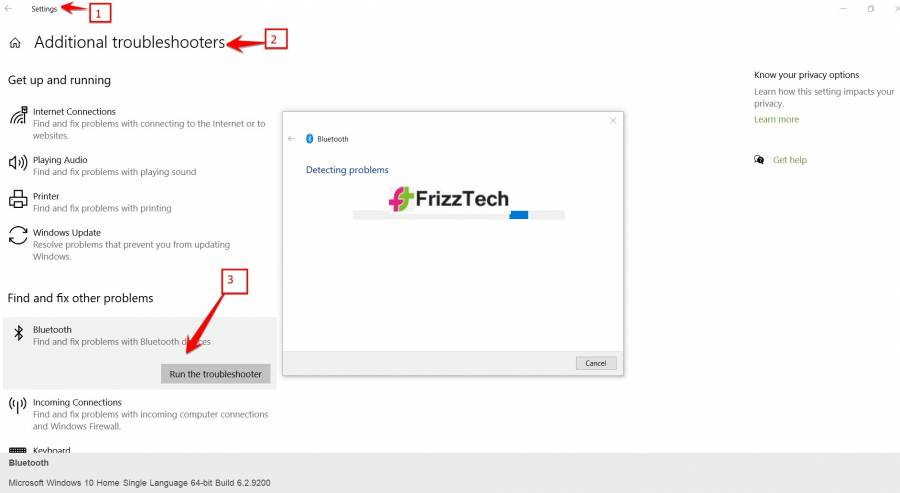 Bluetooth Button fix by troubleshoot