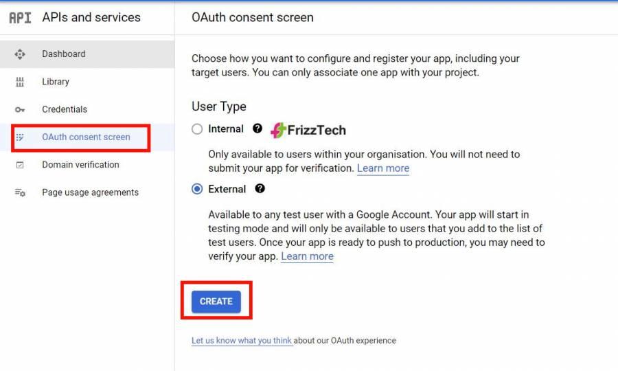 API consent screen