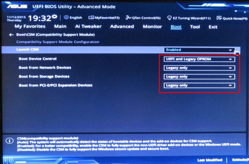 BIOS UEFI Setting