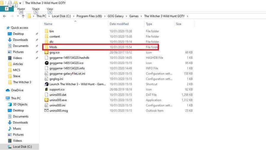Add New folder to set The Witcher 3 Mods