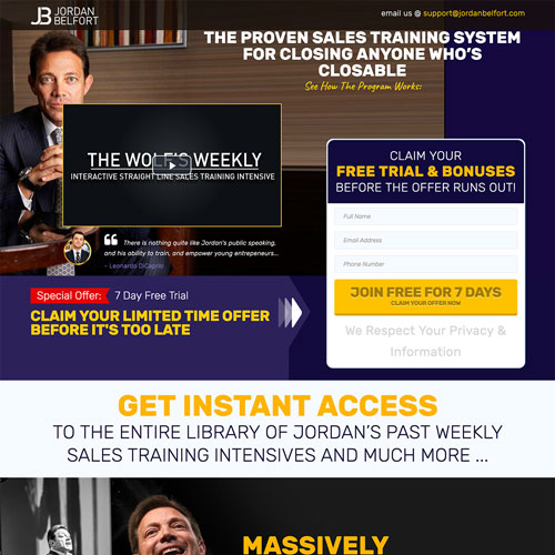 Subscription Funnel from Jordan Belfort