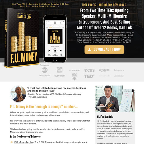 Ebook and Audio book funnel from Dan Lok