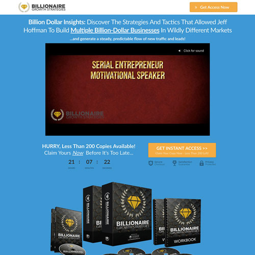 Online instant download funnel from billionaire growth strategies