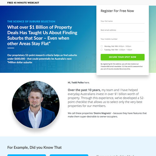 real estate webinar funnel example from thrive property