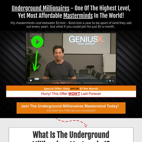 Mastermind online course funnel from Dean Graziosi