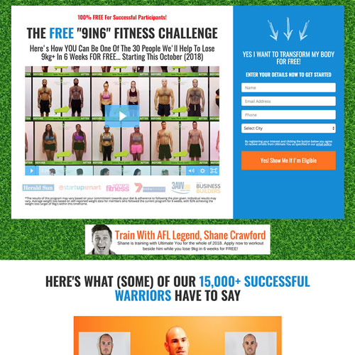 Fitness challenge funnel example