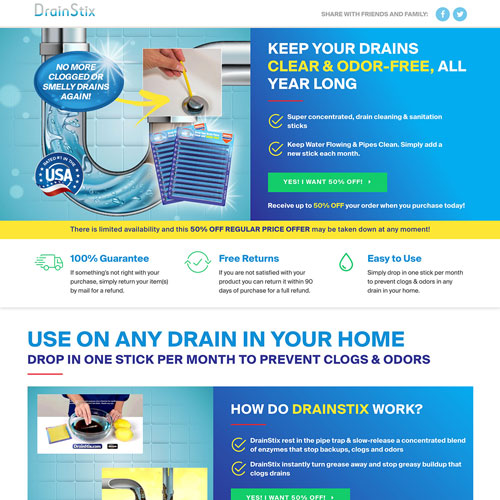 Ecommerce Product Sales funnel from drainstix.com