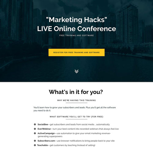 Marketing hacks Conference landing page from botacademy.com