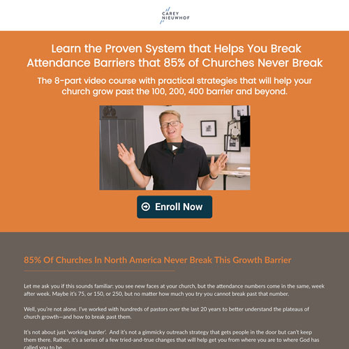 Online course sales funnel landing page from Carey Nieuwhof