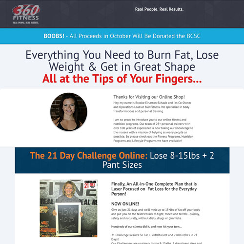 Fitness challenge funnel from 360 Fitness