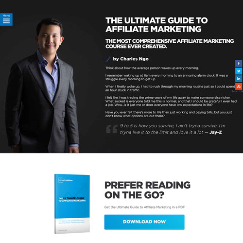Ebook download funnel landing page from Charles Ngo