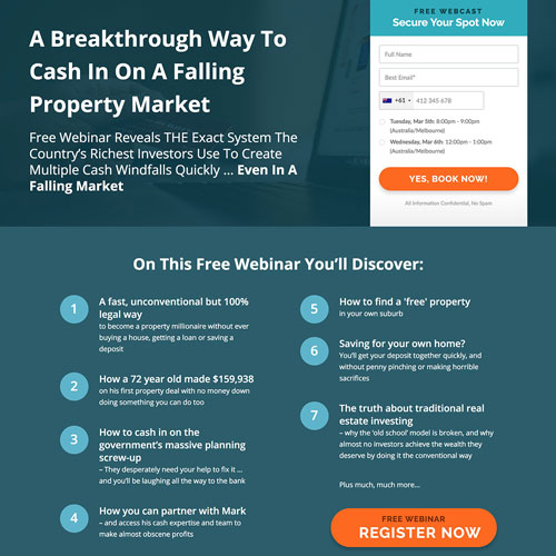 Real estate investment webinar funnel