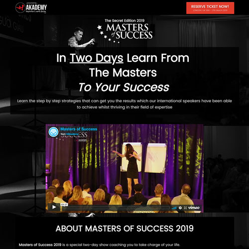 Live event sales funnel from masterofsuccess.co.uk
