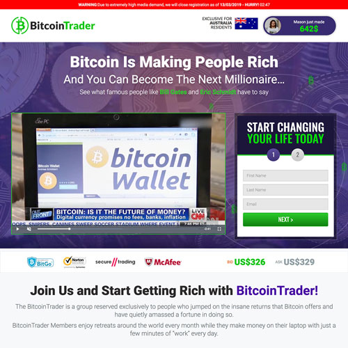 Bitcoin trading software affiliate funnel landing page from bitcoin-trading-app.com