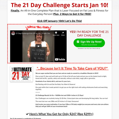 Fitness challenge click funnels landing page example
