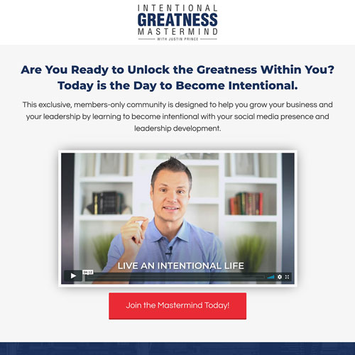 Greatness mastermind membership program funnel