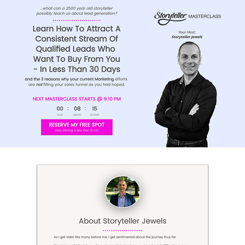 Webinar opt in page funnel example