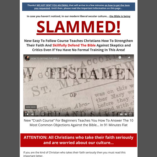 Christianity Apologetics Program Funnel
