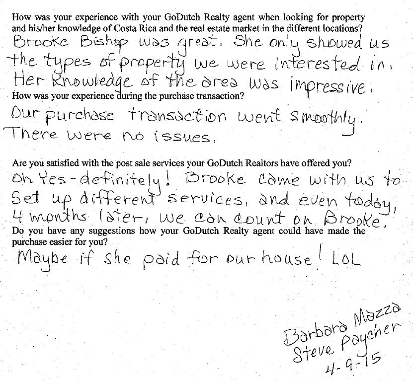 A hand written testimonial about a Costa Rica real estate purchase