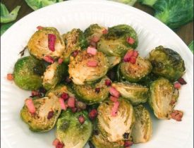 Roasted Brussels Sprouts with Ham, Garlic, Parmesan, and Lemon by Jessica Shelton