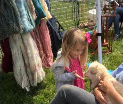 young girl at fiber fair petting a lamb, Fiber Fairs, selling fiber products, where to sell handmade yarn, Fiber festivals, Selling animal fibers, homesteading, homestead